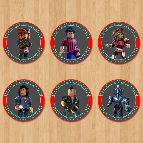 Roblox Cupcake Toppers - Chalkboard Red and Teal - Roblox Birthday Party - Roblox Party Favors - Roblox Stickers - Roblox Party Printables