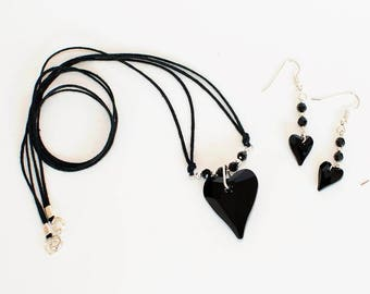 Swarovski Crystal Black Heart Earrings and Pendant Set.