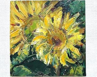 Sunflower wall decor original cheap painting impasto painting sunflower canvas painting sunflowers rustic sunflower cheap wall decor oil art