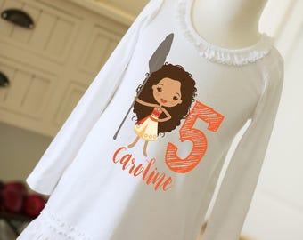 Moana dress with name and birthday digit