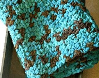 Chunky Baby Blanket, Chunky Crochet Baby Blanket, Baby Boy Blanket, Teal and Brown, Modern Baby Blanket, Chunky Knit Blanket,Baby Boy Gift