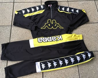 RARE Vintage KAPPA Track Suit Hip Hop Sports 90s Black and Yellow Big Logo