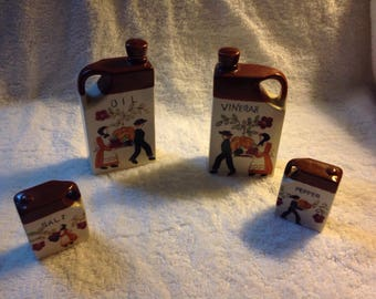 Salt and pepper shakers, oild and vinager set
