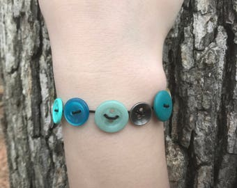 Blue Stretchy Button Bracelet