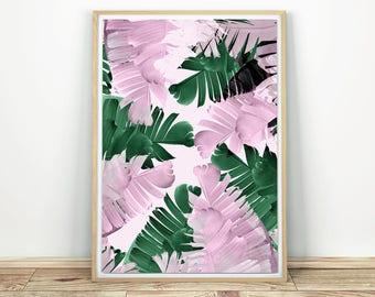 Palm Leaves Print - Printable Art, Palm Leaf Decor, Tropical Wall Art, Modern Art Print, Banana Leaf Art, Palm Leaf Poster, Tropical Leaf