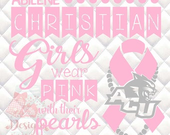 Abilene Christian University - Pink & Pearls - Breast Cancer Awareness - SVG, Silhouette studio and png bundle