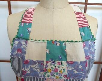 Vintage Cotton Patchwork Bib Apron