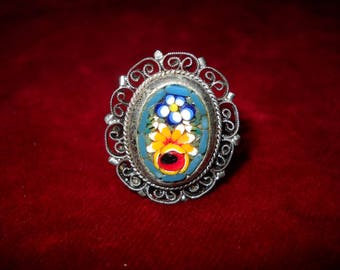 1920 Ring, Liberty Style, floral micromosaic, Made in Italy