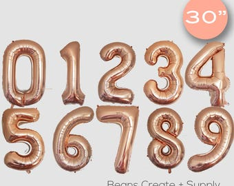 "Custom Rose Gold 0-9 number balloons | 30"", birthday, girls birthday"
