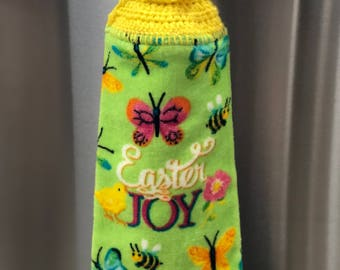 Easter kitchen hand towel that says Easter Joy
