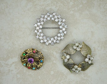 Vintage Rhinestone Craft Lot, Vintage Three Brooch Lot, Vintage Repair Lot Vintage Rhinestone Brooch Lot, Vintage Jewelry Lot,