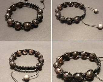 Quartz bracelet - Mens bracelet - Tourmalated Quartz beads - Beaded bracelet - Shamballa style bracelet