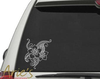 Flower Car Decal, Car Decals for woman, Cute Car Decals, Flower Sticker, Vinyl Decals, Boho Car Decal, Paisley Decal