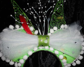 Disney Ears: Tinkerbell Inspired Disney Mouse Ears; Peter Pan; Tinker Bell; Mickey Ears Headband