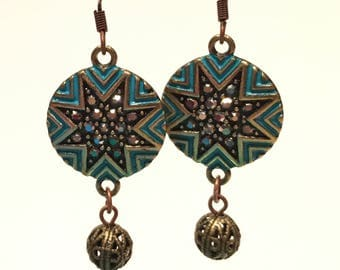 Blue, gold & bronze earrings with marcasite looking stones and infused with Reiki