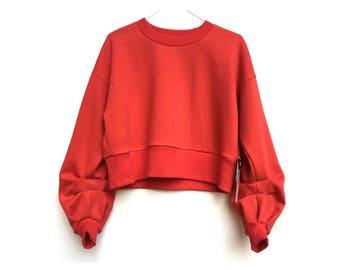 FEELINKITA red cropped jumper w/ baggy sleeves