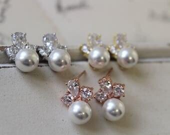 Art Deco Earrings , Vintage Style Crystal Pearl Earrings, Bridal Earrings, Rose gold Wedding Earrings, Pearl Earrings,Silver Zircon Earrings