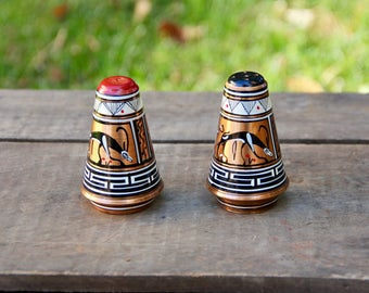 Copper Salt Shaker - Copper Pepper Shaker - Copper Grecian Salt Pepper - Copper Salt and Pepper Shakers - Grecian Hand Painted - Copper Salt