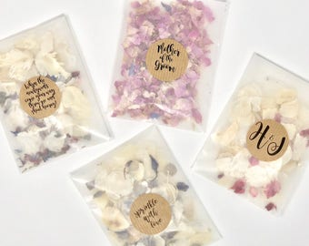 10 Personalised Glassine Confetti Packs   Slow Fall Confetti Packets/Bags   Real Petal, Biodegradable, Throwing Wedding Confetti Petals