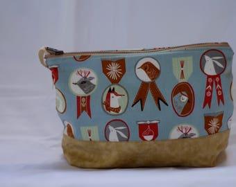 Woodland Animal Zipper Pouch, Project Bag, Makeup Bag