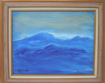 Mountain Waves. Original 11x14 oil painting by Charlie Stone. Landscape. Contemporary abstract. Blue painting. Ready to hang. Free shipping.