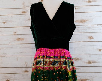 Clearance Velvet and Paisley 70s dress