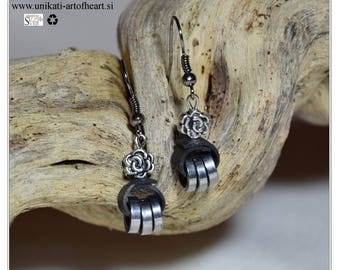 Bicycle Earrings / Bicycle Inner Tube Earrings / Recycled Earrings / Eco Friendly Upcycled Earrings / Gift for Cyclists / Bike Chain Earring