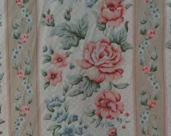 Vintage chintz floral flower rose curtains 90 x 90 French Country farmhouse