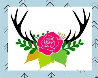 Antler floral swag svg Deer svg Deer antler svg Deer antlers svg Floral svg Flower svg Rose svg files for Cricut Silhouette cut files dxf