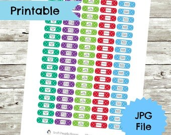 Motivational Bandaid Planner Stickers, bandaid stickers, motivatinal stickers, planner stickers, planner printable stickers, self care