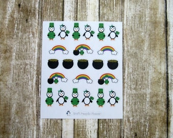 St. Patrick's Waddles & Snowflake, character sticker, cute penguin sticker, hand drawn sticker