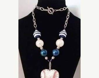 CLEARANCE!  Baseball Blue Rhinestone Necklace