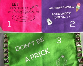 Don't be a prick Tote All these flavors Tote Let kindness Ripple Tote