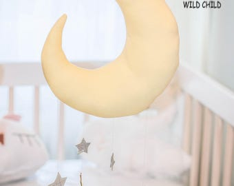 Yellow ,moon and stars, mobile, wall décor, nursery, kids room, baby crib mobile, newborn gift, baby shower gift, gold stars