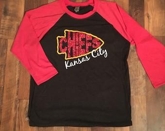 Kansas City Chiefs Football Raglan 3/4 T-shirt, Arrowhead with Glitter Chiefs