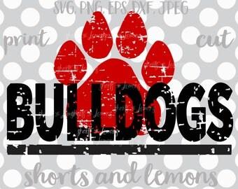 Bulldogs svg, Bulldogs cricut,  Cut File, Bulldogs iron on, Bulldog, Paw svg, Silhouette, iron on, Digital Download, Cricut, Distressed svg