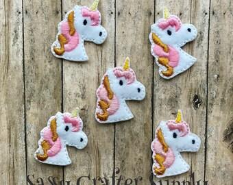 Unicorn Head Feltie, Embroidery Felt Applique design, set of Cut or Uncut Felties