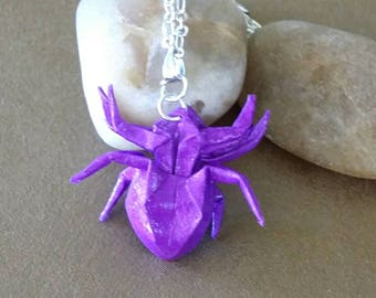 Origami Spider Necklace, Origami Jewelry, Paper Spider Necklace ,Washi paper,Christmas gift