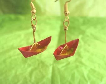 Origami Boat Earrings-Origami Jewellery-Paper Jewellery-Origami Earrings-Dangle& Drop earrings-Valentine's Day