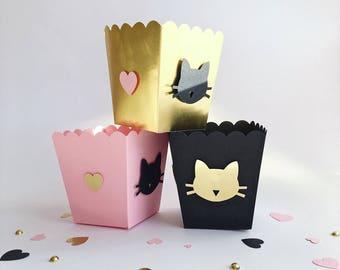 Cat Popcorn Boxes Cat Party Birthday Decorations Bachelorette Party Decorations Kitten Black Cat Birthday Party Black Cat Themed Favor Box