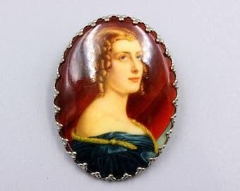 Fabulous vintage brooch, vintage pin, bohemian brooch, porcelain brooch, woman portrait, victorian style, classy