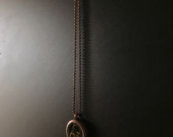 Antique Copper glass locket stitch marker pendant
