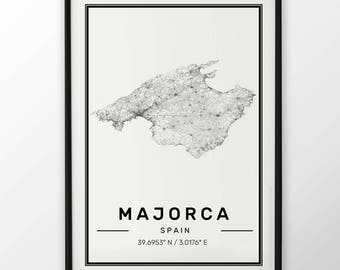 Majorca City Map Print Modern Contemporary poster in sizes 50x70 fit for Ikea frame 19.5 x 27.5 All city available London, New York Paris