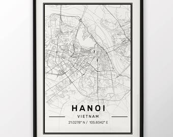 Hanoi City Map Print Modern Contemporary poster in sizes 50x70 fit for Ikea frame 19.5 x 27.5 All city available London, New York Paris