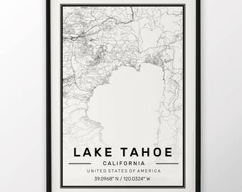 Lake Tahoe City Map Print Modern Contemporary poster in sizes 50x70 fit for Ikea frame 19.5 x 27.5 All city available London New York Paris