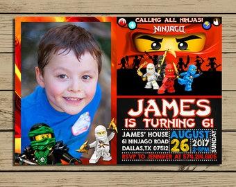 Lego Ninjago Invitation - Lego Ninjago Birthday Party Invite - Lego Ninjago Chalkboard Invitation With Photo - Lego Invitation - YOU PRINT