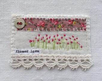 Gorgeous hand embroidered little piece of textile art