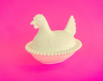 Vintage Indianapolis Milk Glass Nesting Hen Candy Dish