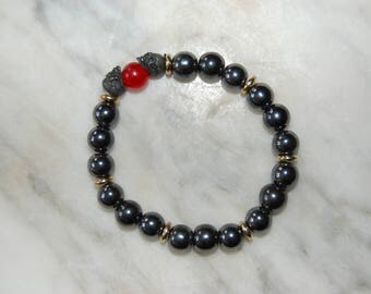 Men's Beaded Hematite and Carnelian Bracelet
