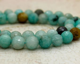 Dye Amazonite Faceted Round Gemstone Beads (8mm)